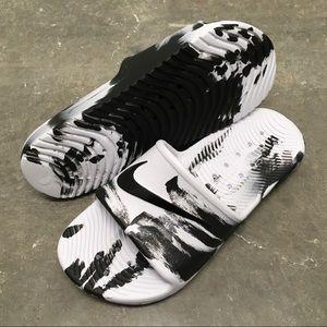 82a2b15db02 Nike Shoes - NIKE KAWA SHOWER SANDALS SWOOSH BLK WHI MARBLE